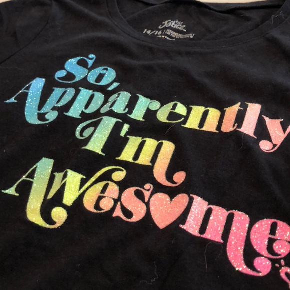 "Justice Girls/' Shirt /""So Apparently I/'m Awesome/"" in Glittery Detail Size 6//7"